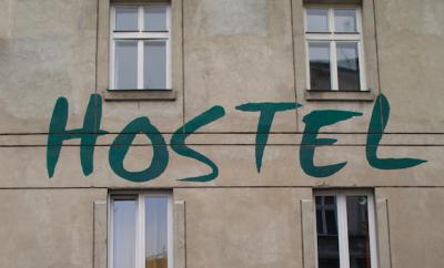 """""""Hostel"""" written on building"""