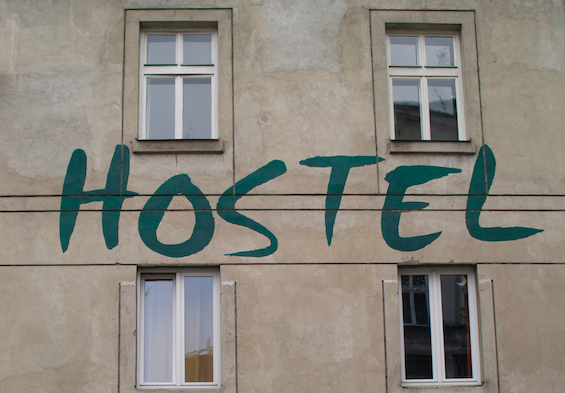 """Hostel"" written on building"