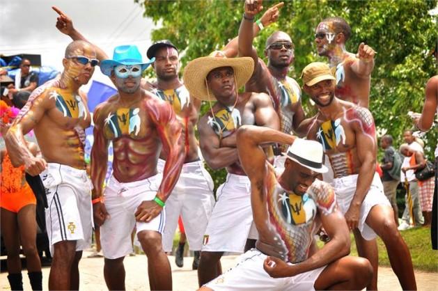 Men in white swim trunks