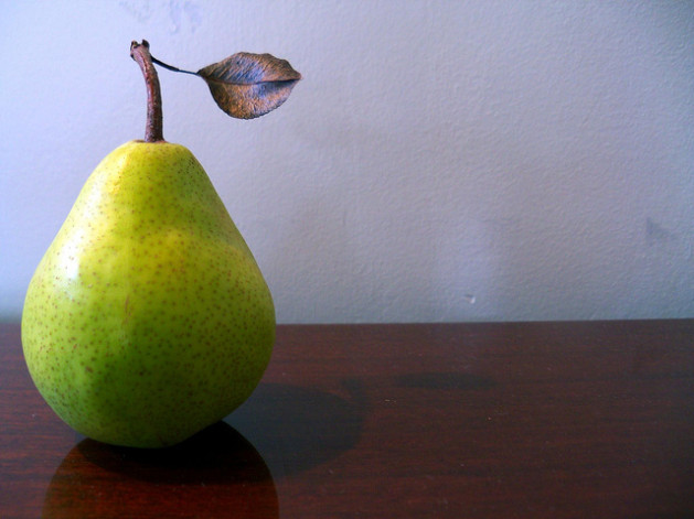 pear on table