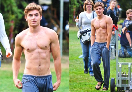 Confident Zac Efron Walking Shirtless