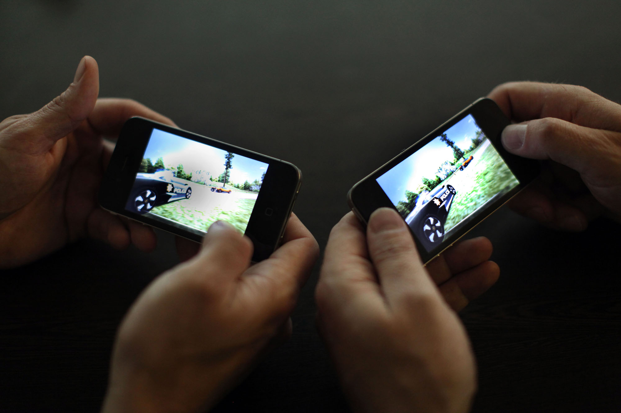 Two people mobile gaming