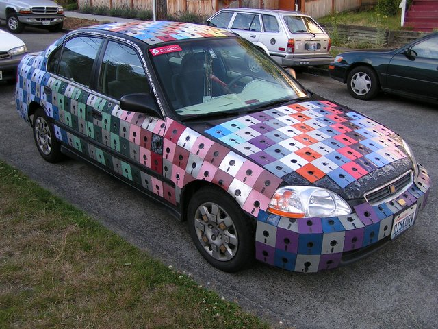 Car covered in floppy disks