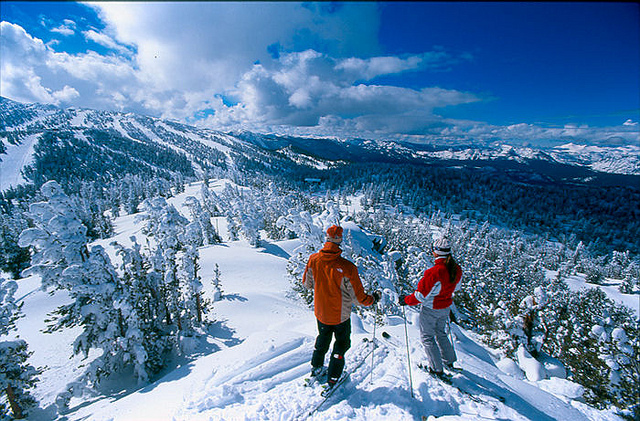 two people snow skiing