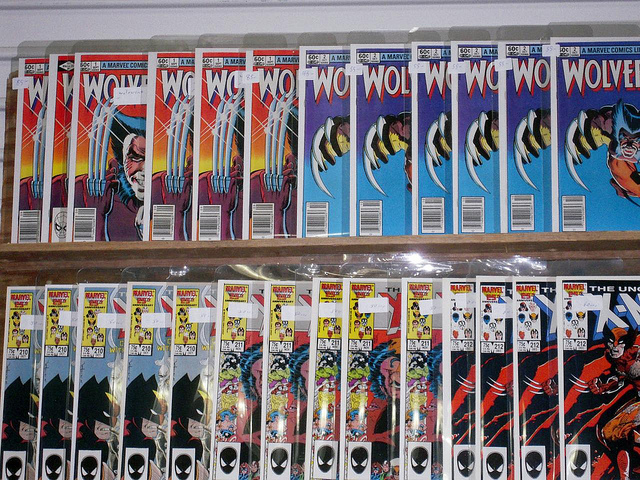 Rows of comic books in plastic