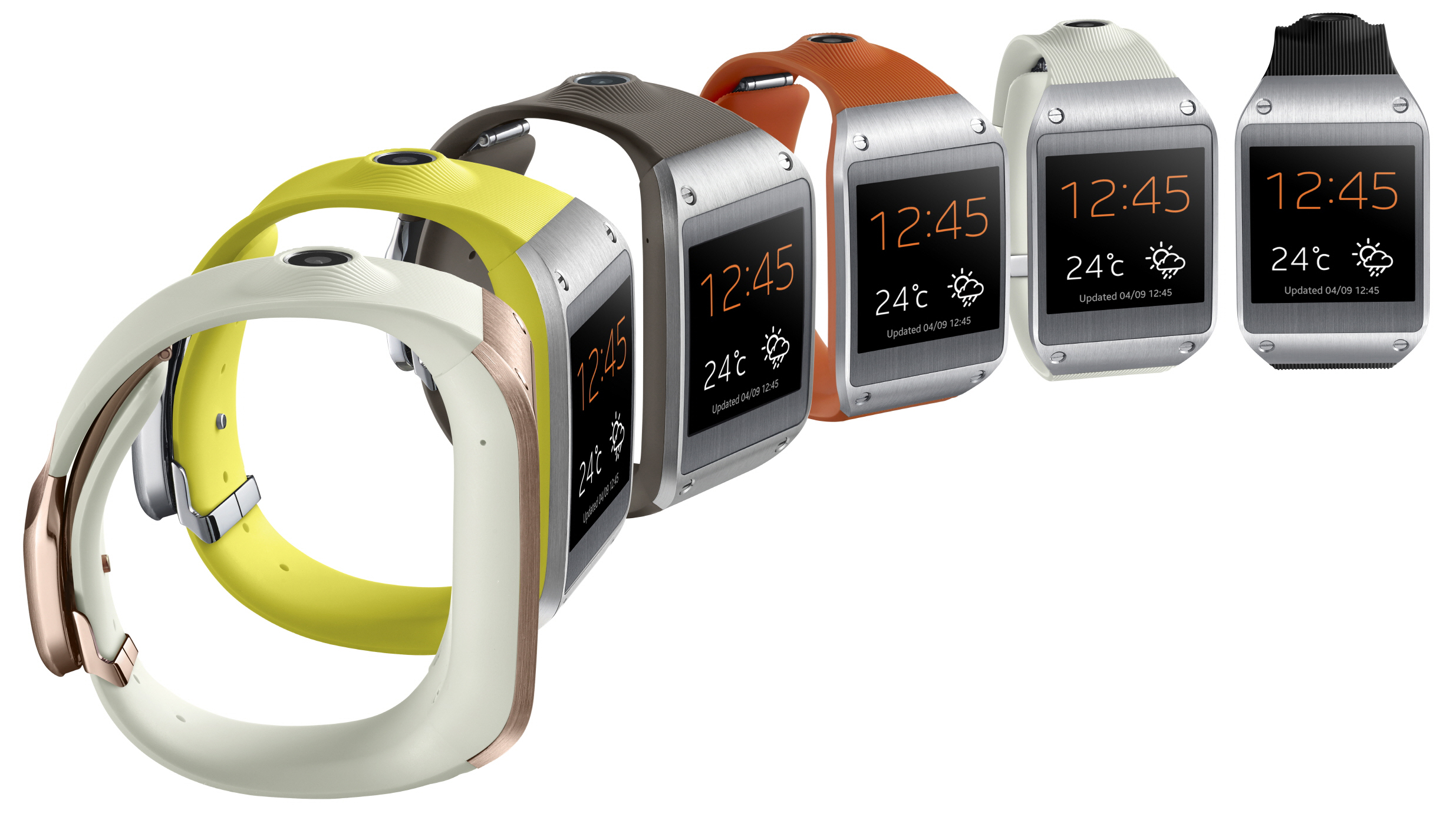 Several Galaxy gear watches in a row