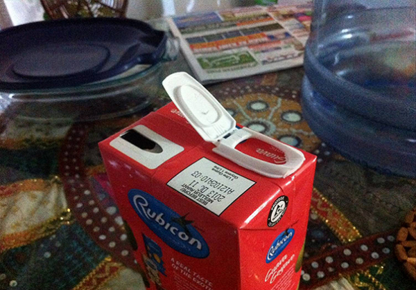 broth carton with opening on the wrong side