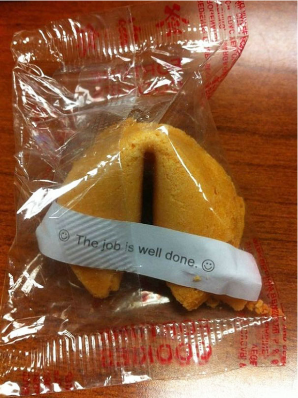 fortune cookie with ironic fortune