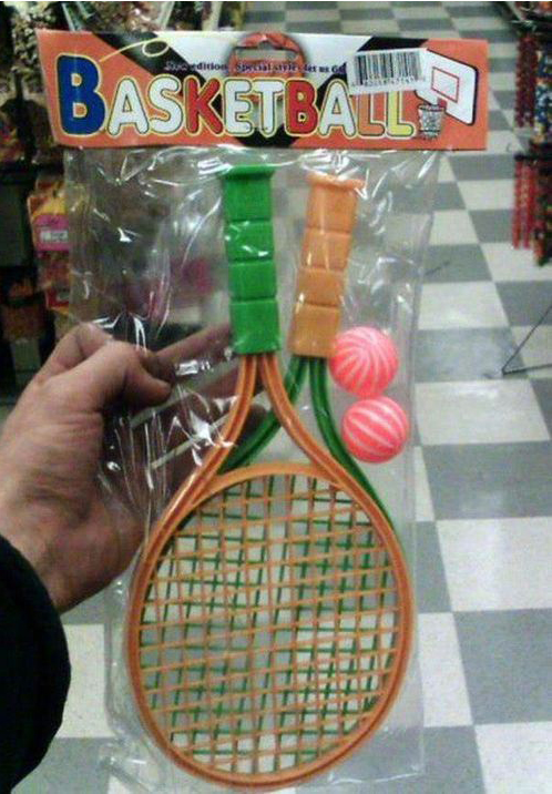plastic tennis gear labeled for basketball