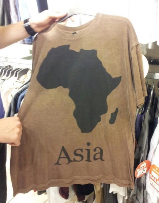 T-shirt with Asia as text and africa as image