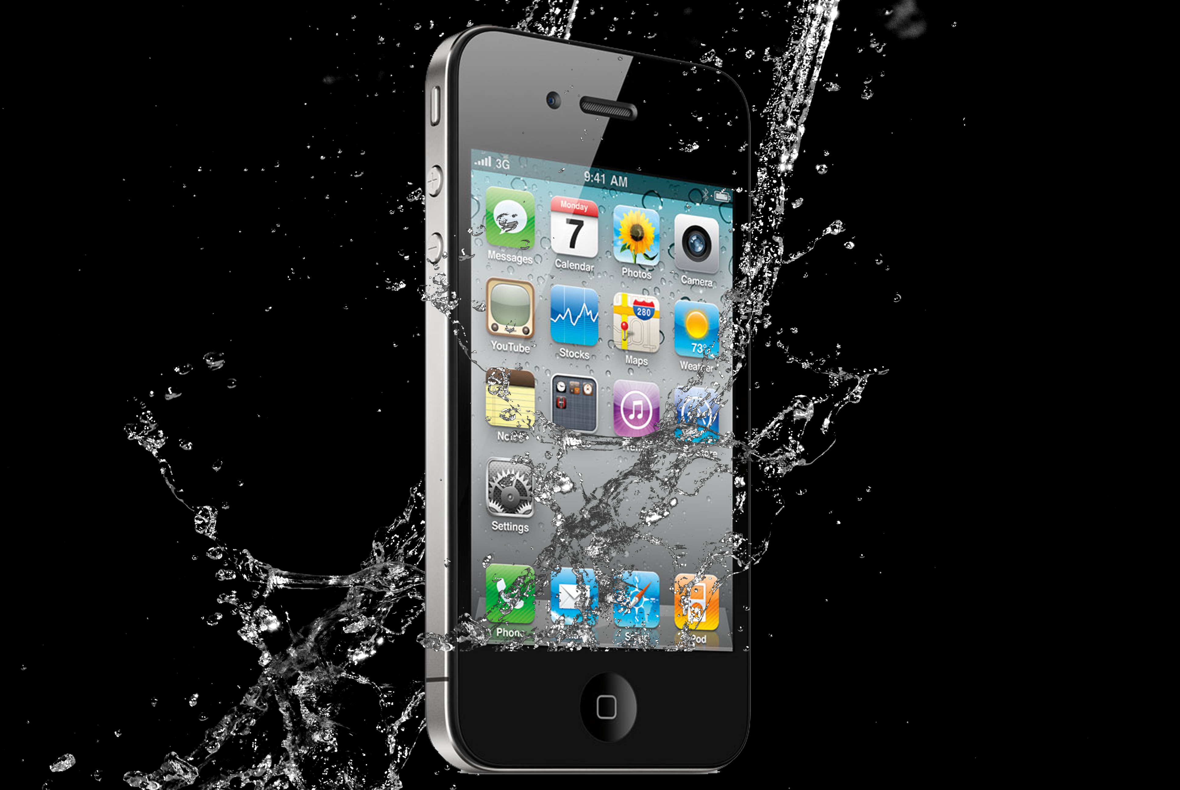 iPhone being dropped in water with water damage