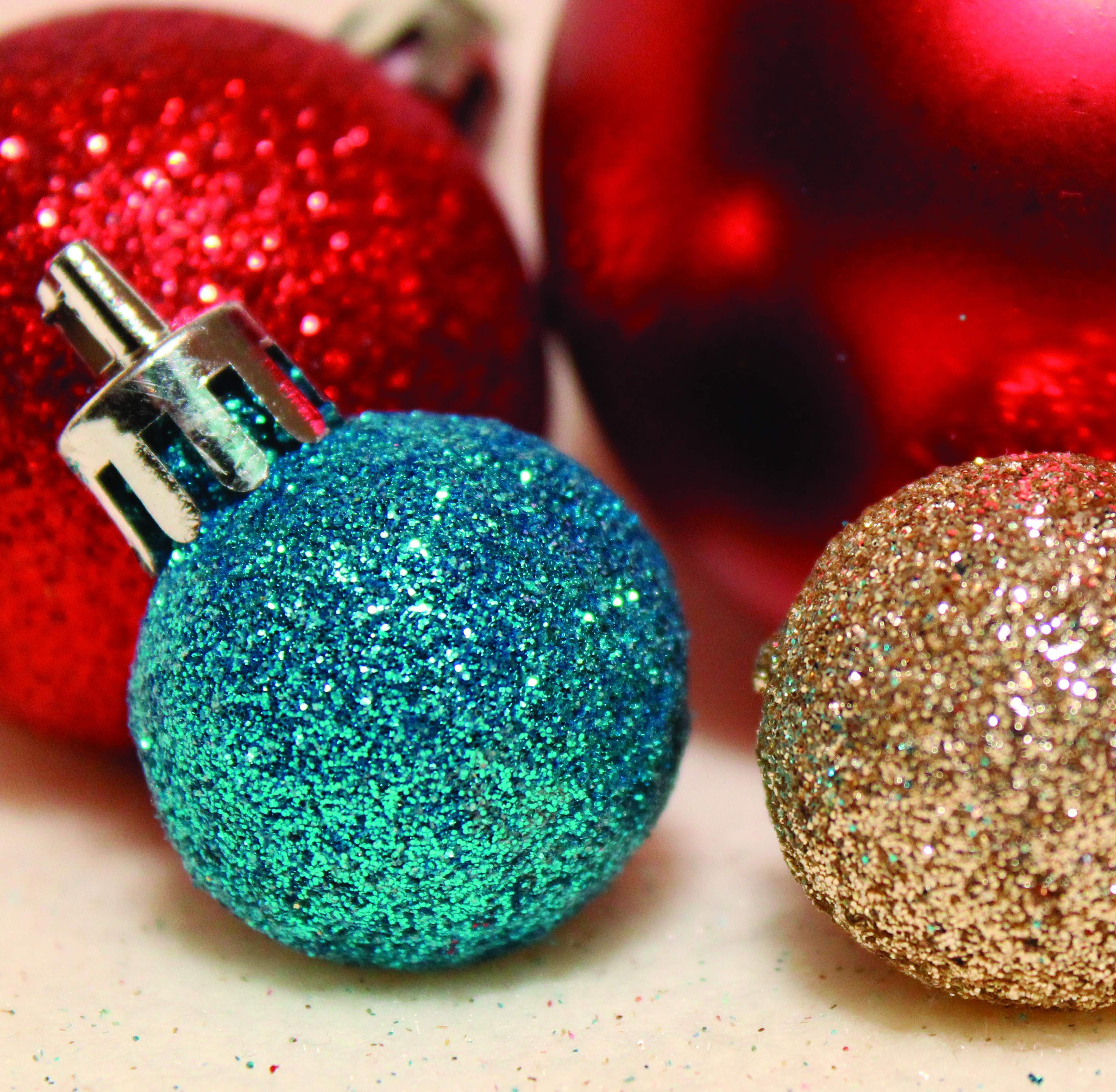 red blue and gold sparkly ornaments