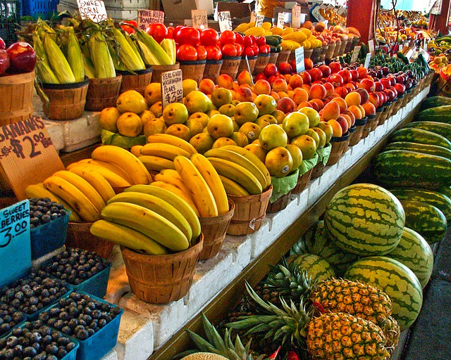Fruits and veggies in a market