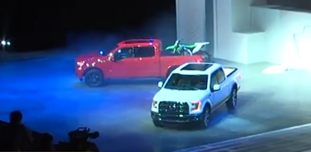 red and white ford f-150 pickup trucks truck