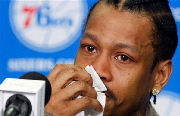 Allen Iverson crying like a bitch