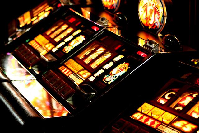 slot machines lit up