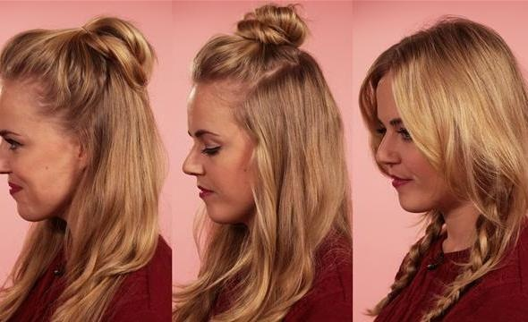 blond woman modeling three easy hairstyles