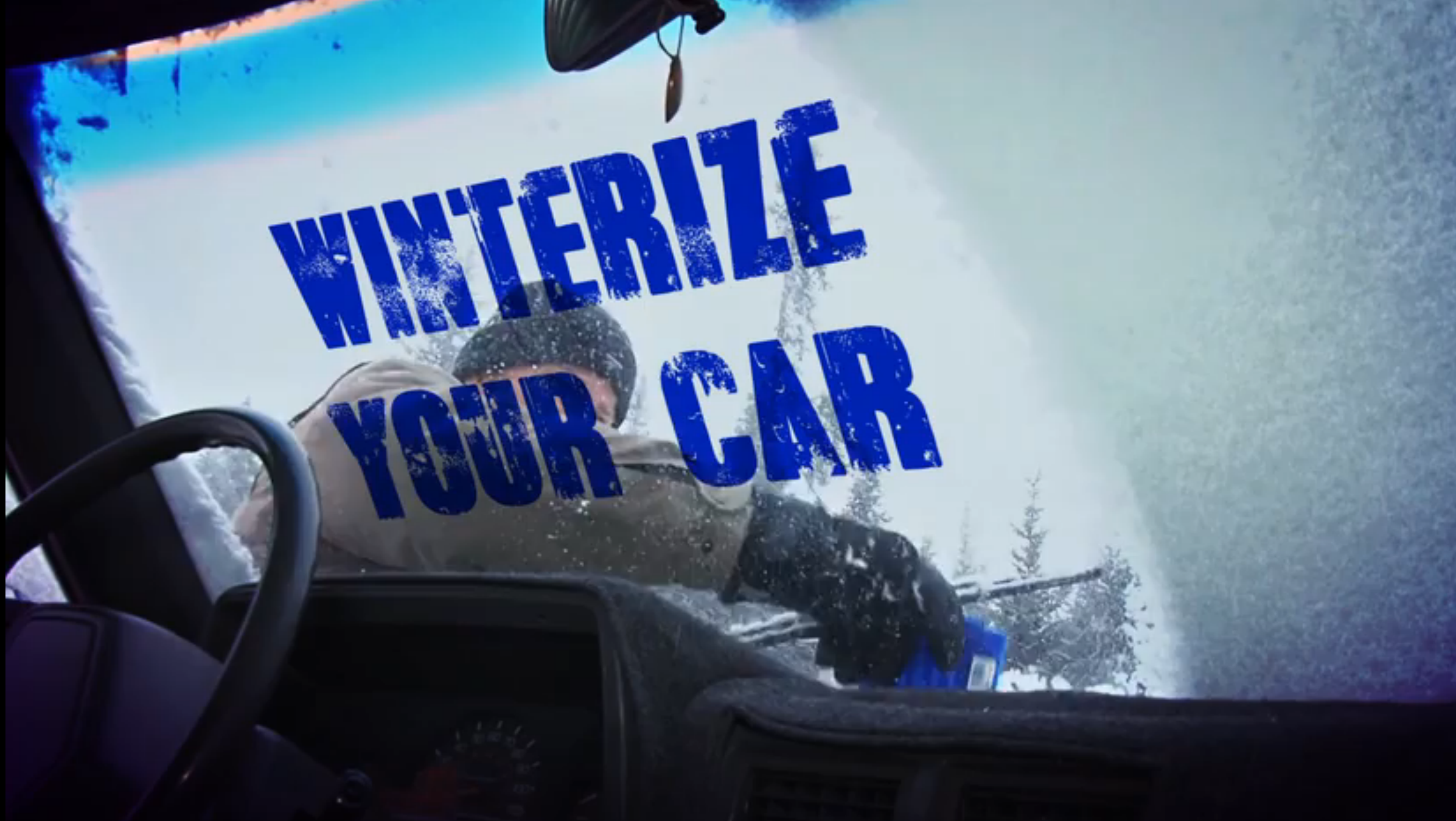 winterize Your car written on a snowy windshield