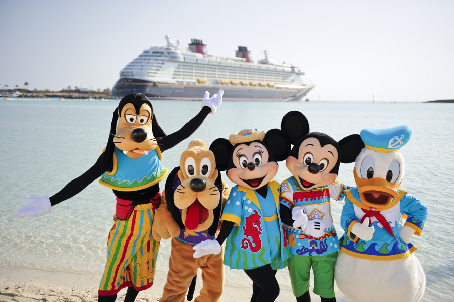 disney characters standing in front of a cruise ship