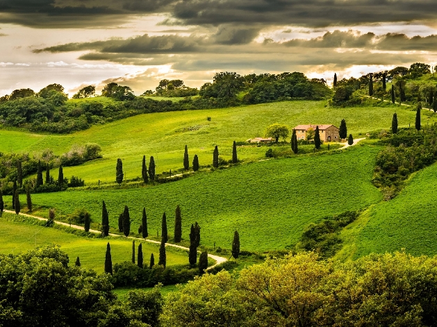 large rolling green hills