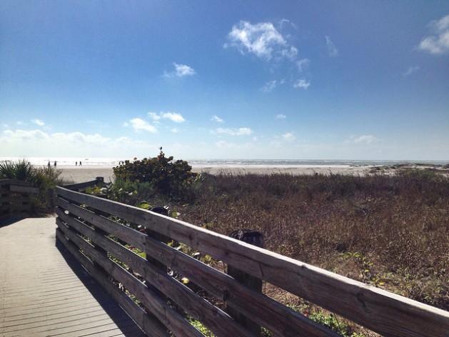 wooden walkway through sand dunes leading to white sand beach