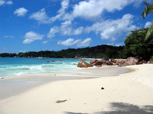 Anse Lazio beach with blue water