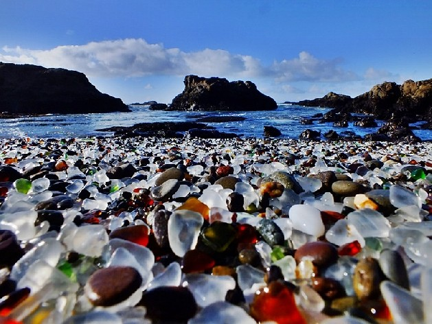 glass beach in hawaii rocky beach shore