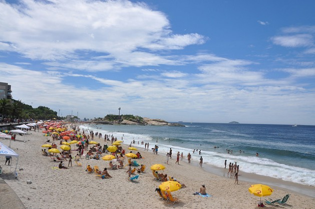 Ipanema Beach people lounging on beach