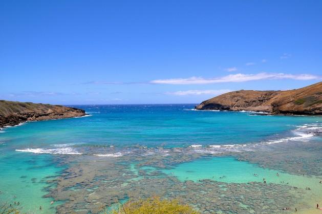 Hanauma Bay blue water with rocks and coral