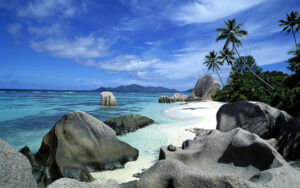 Anse Source d'Argent rocky beach with blue water