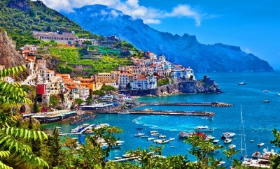 buildings and houses on a mountainside overlooking the mediterranean sea Amalfi Coast