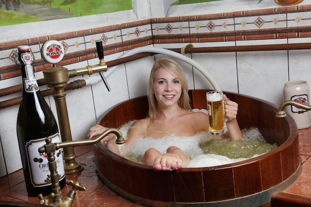 woman taking bath in beer