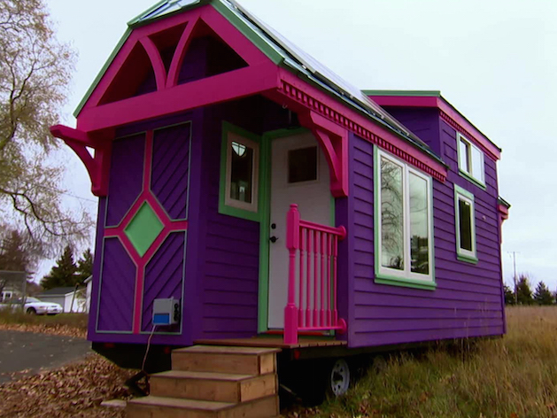 purple and pink tiny house