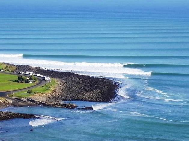 rocky beach with big waves