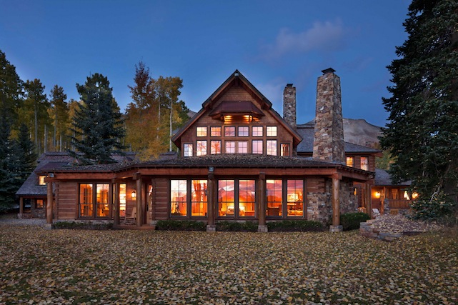 log cabin in mountains