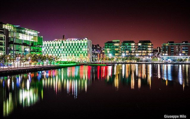 Water reflection of Grand Canal, Dublin, Ireland at night