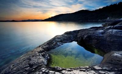 rocky shore of mljet island croatia