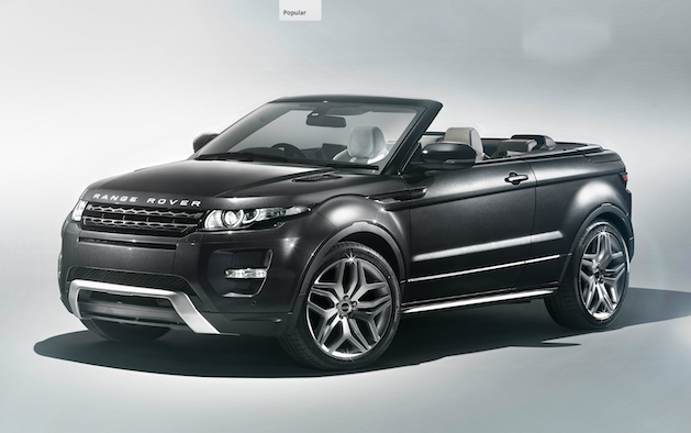 Range Rover Evoque Convertible in dark metallic grey