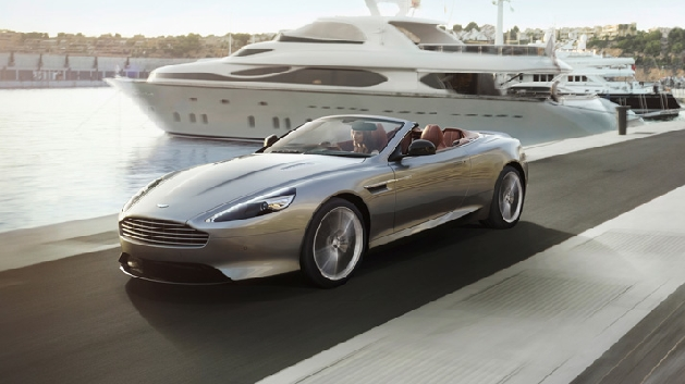 Aston Martin DB9 Convertible in grey driving
