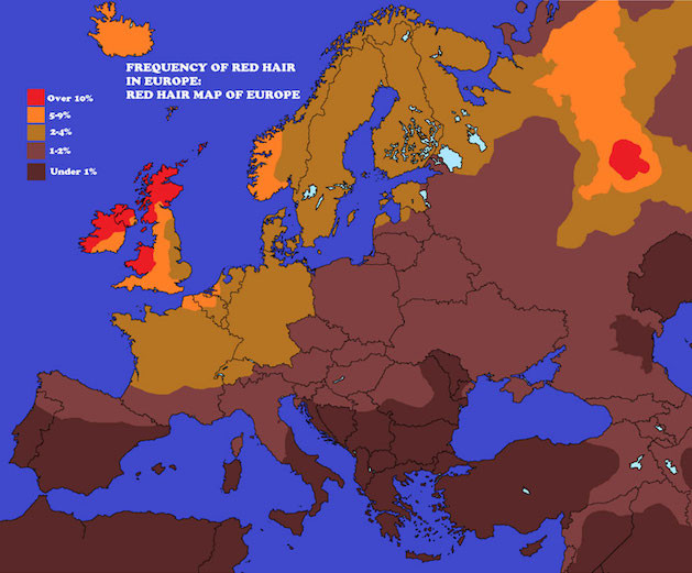 red hair in europe map
