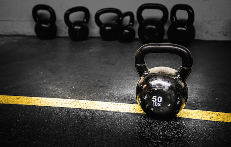 50 pound kettlebell on yellow line