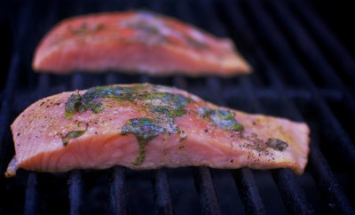 salmon on a grill
