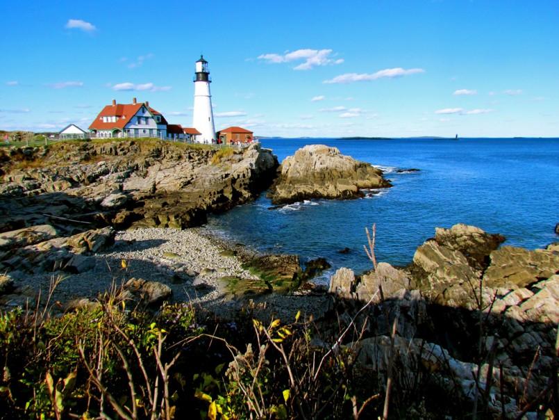 Portland, Maine lighthouse on rocky shore