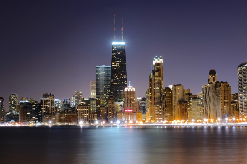 chicago skyline over the water