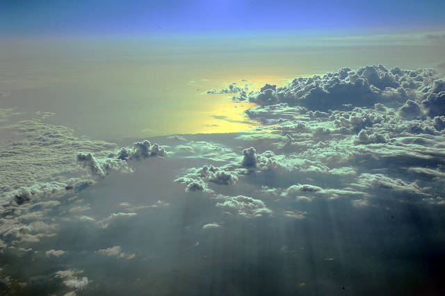 view of clouds out airline plane window