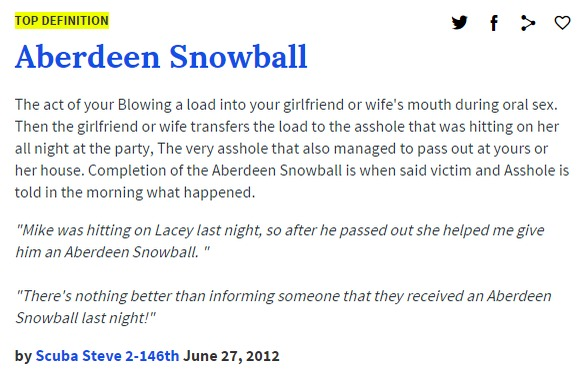 Aberdeen Snowball urban dictionary