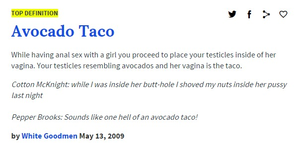 avocado taco urban dictionary