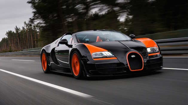 black and orange bugatti