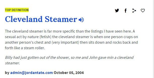 Cleveland Steamer urban dictionary