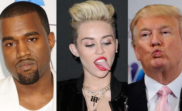 kanye west, miley cyrus and donald trump